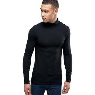 Buy PAUSE Black Solid Cotton High Neck Slim Fit Long Sleeve Men s T ... c15859ab5e8