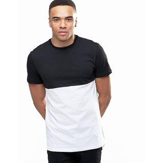 PAUSE Black Solid Cotton Round Neck Slim Fit Short Sleeve Men's T-Shirt