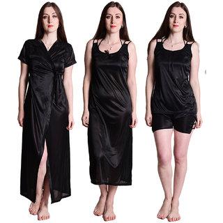 Senslife Satin Nightwear Sleepwear Solid 4pc Set of Nighty, Wrap Gown, Top, Shorts SL019