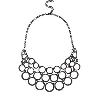 JewelMaze Black Oxidised Statement Necklace