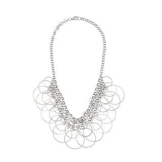 JewelMaze Rhodium Plated Multi Rings Statement Necklace