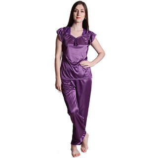 Senslife women satin nightwear night suit top and pajama set SL020