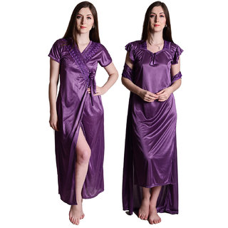 Senslife women satin nightwear sleepwear 2pc set of night and robe set SL021