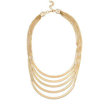 JewelMaze Gold Plated Multi Layer Chain Statement Necklace