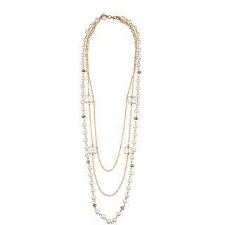 JewelMaze Gold Plated Pearl Statement Necklace