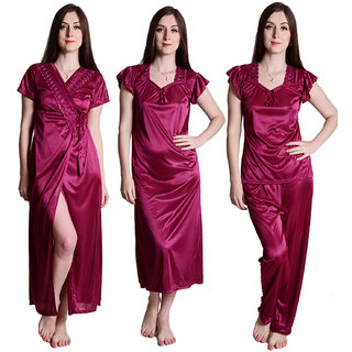 Senslife women satin nightwear sleepwear 4 pc set Nighty Wrap Gown Top pajama bra and thong SL022