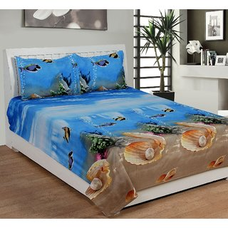 Aashish collection Premium Quality 3D Double Bedsheet Set Sea Shell