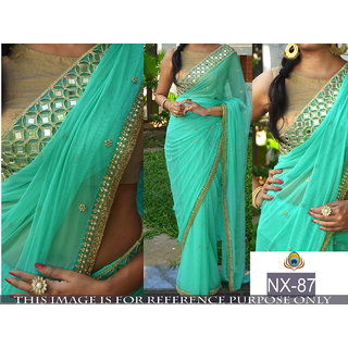 shiwaye multi color desinger georgette saree with blouse piece