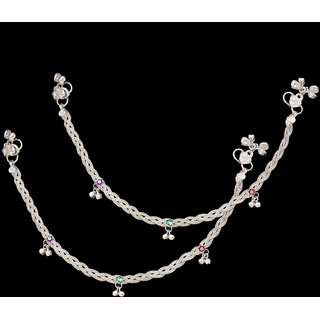1 Pair German Silver Plated Anklet Rope Design Payal With 6 Months Re-plating Warranty and 150 rs. Value FREE Gift