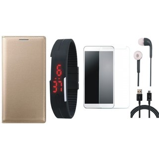 Samsung J7 Pro Leather Flip Cover with Free Digital LED Watch, Tempered Glass, Earphones and USB Cable