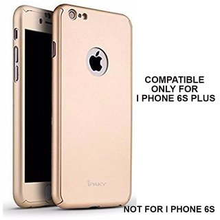 BRAND FUSON 360 Degree Full Body Protection Front Back Cover (iPaky Style) with Tempered Glass for I Phone 6/6S Plus (Gold)