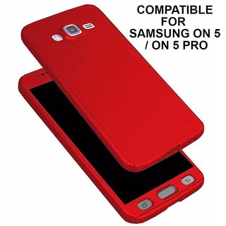 BRAND FUSON 360 Degree Full Body Protection Front Back Case Cover (iPaky Style) with Tempered Glass for Samsung ON5-Red
