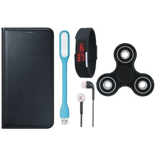 Samsung J7 Pro Premium Leather Cover with Spinner, Digital Watch, Earphones and USB LED Light