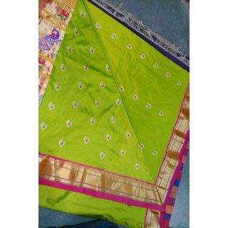 Paithani Green Woven Design Silk Saree With Blouse