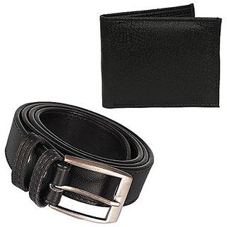 Janak Combo of 1 Black Belt  1 Black Wallet