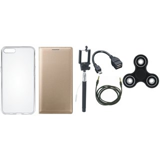 Moto G5s Premium Leather Cover with Spinner, Silicon Back Cover, Selfie Stick, OTG Cable and AUX Cable