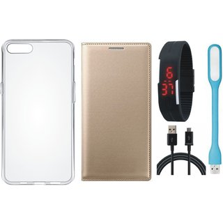 Samsung J7 Pro Premium Leather Cover with Silicon Back Cover, Digital Watch, USB LED Light and USB Cable