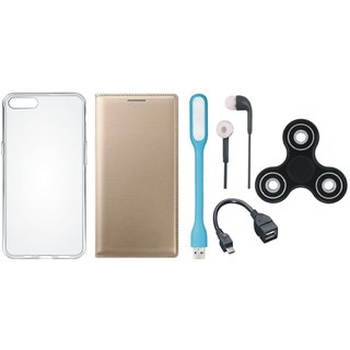 Samsung J7 Pro Premium Leather Cover with Spinner, Silicon Back Cover, Earphones, USB LED Light and OTG Cable