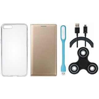 Samsung J7 Pro Premium Leather Cover with Spinner, Silicon Back Cover, USB LED Light and USB Cable