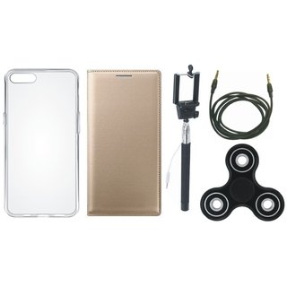Samsung J7 Pro Premium Leather Cover with Spinner, Silicon Back Cover, Selfie Stick and AUX Cable