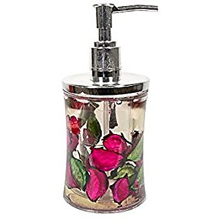 Skywalk Contemporary Liquid Soap Dispenser Beautiful Floating Flower Petals of Red/ Pink and Green Color