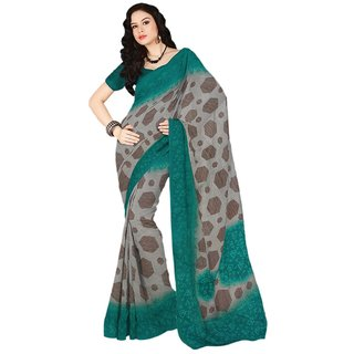 e77f3338a Gorgeous Georgette Printed Saree Green at Best Prices - Shopclues Online  Shopping Store