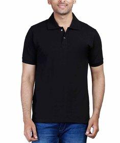 Half Sleeve Men's Black Collar Polo T-Shirt