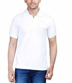 Half Sleeve Men's White Collar Polo T-Shirt