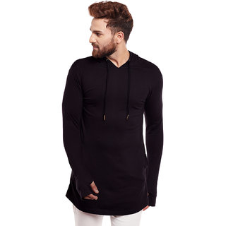 Hypernation Solid Men Hooded Sweatshirt
