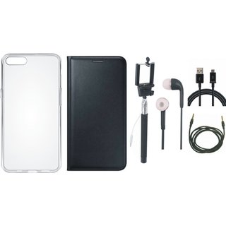 Moto G5 Plus Leather Flip Cover with Silicon Back Cover, Selfie Stick, Earphones, USB Cable and AUX Cable