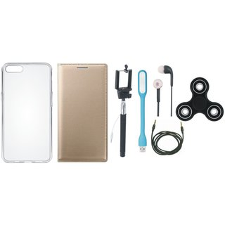 Motorola Moto G5 Plus Cover with Spinner, Silicon Back Cover, Selfie Stick, Earphones, USB LED Light and AUX Cable