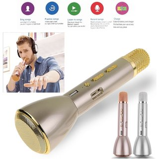 Others Portable Mini Handheld Wireless Bluetooth Karaoke Player Microphone Speaker KTV Mic Compatible with