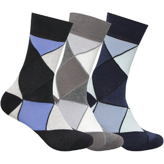 Supersox Mens Pack of 3 Regular Combed Cotton Argyle Socks (Combo 2)