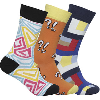 Supersox Mens Pack of 3 Regular Combed Cotton Funky Socks