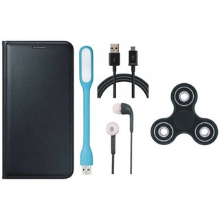 Samsung J7 Max Leather Flip Cover with Spinner, Earphones, USB LED Light and USB Cable
