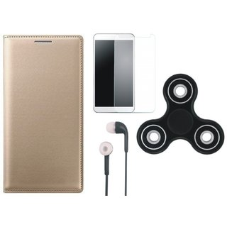 Samsung J7 Max Leather Flip Cover with Spinner, Earphones and Tempered Glass