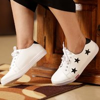 Trendy Women's 3 S Star (Black) Sneakers (White)