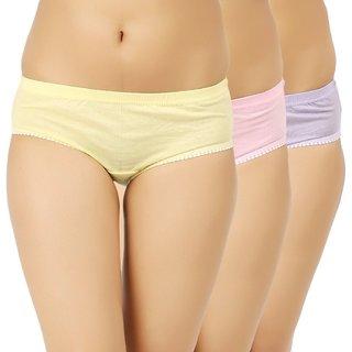 Jil Delux Multicolor Plain Panty - Women's Panties Combo Pack Of 3  Assd Cotton Briefs for Girls/Ladies
