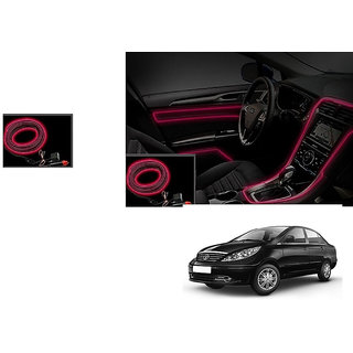 Autonity Car Interior Ambient Wire Decorative LED Light Red For Tata Manza