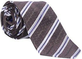 Speak Natural Silk Hand-Made Stripes Silver - Brown Tie SPK3016HT