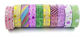 Colourful Decorative Adhesive DESIGN Tape Rolls - Set of 10