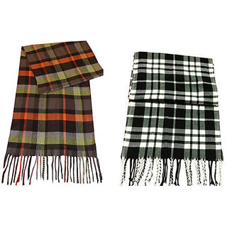 Nandini Combo Of 2 Checked Mufflers warm Woolen for man Women(Assorted)