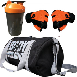 CP Bigbasket Combo Set Polyester 40 Ltrs Black Sport Gym Duffle Bag, Gym Shaker (400 ml), Netted Gym  Fitness Gloves (O
