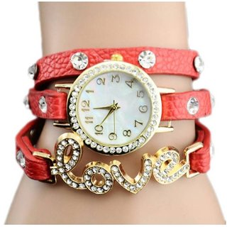 Red Love Leather Belt Diamound Designing Stylist Leather Belt Analog Watch For Women Girls