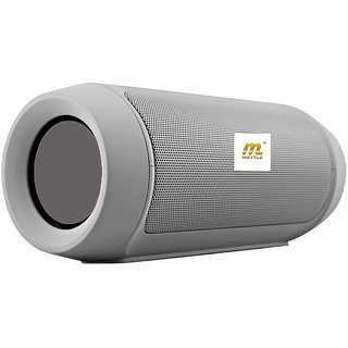 METTLE Charge 2+ Portable Bluetooth Speaker with Built-In Mic USB + Memory Card Slot  Water Proof  Silver Color