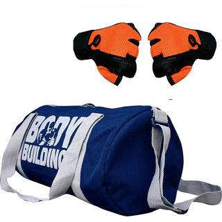 CP Bigbasket Combo Set Polyester 40 Ltrs Blue Sport Gym Duffle Bag, Netted Gym  Fitness Gloves (Orange)