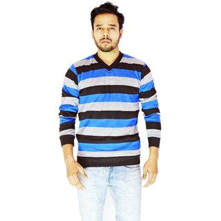 DEPLO Blue-Black V Neck Men's Sweater