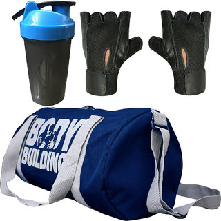 CP Bigbasket Combo Set Polyester 40 Ltrs Blue Sport Gym Duffle Bag, Gym Shaker (400 ml), Gym  Fitness Gloves (Black)