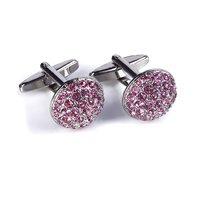 Speak Elegant Pink Crystals Studded Silver Cufflink