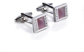 Speak Elegant Pink  White Crystals Studded Silver Cufflink